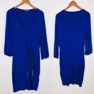 Ivanka Trump ruched dress XL blue tassels